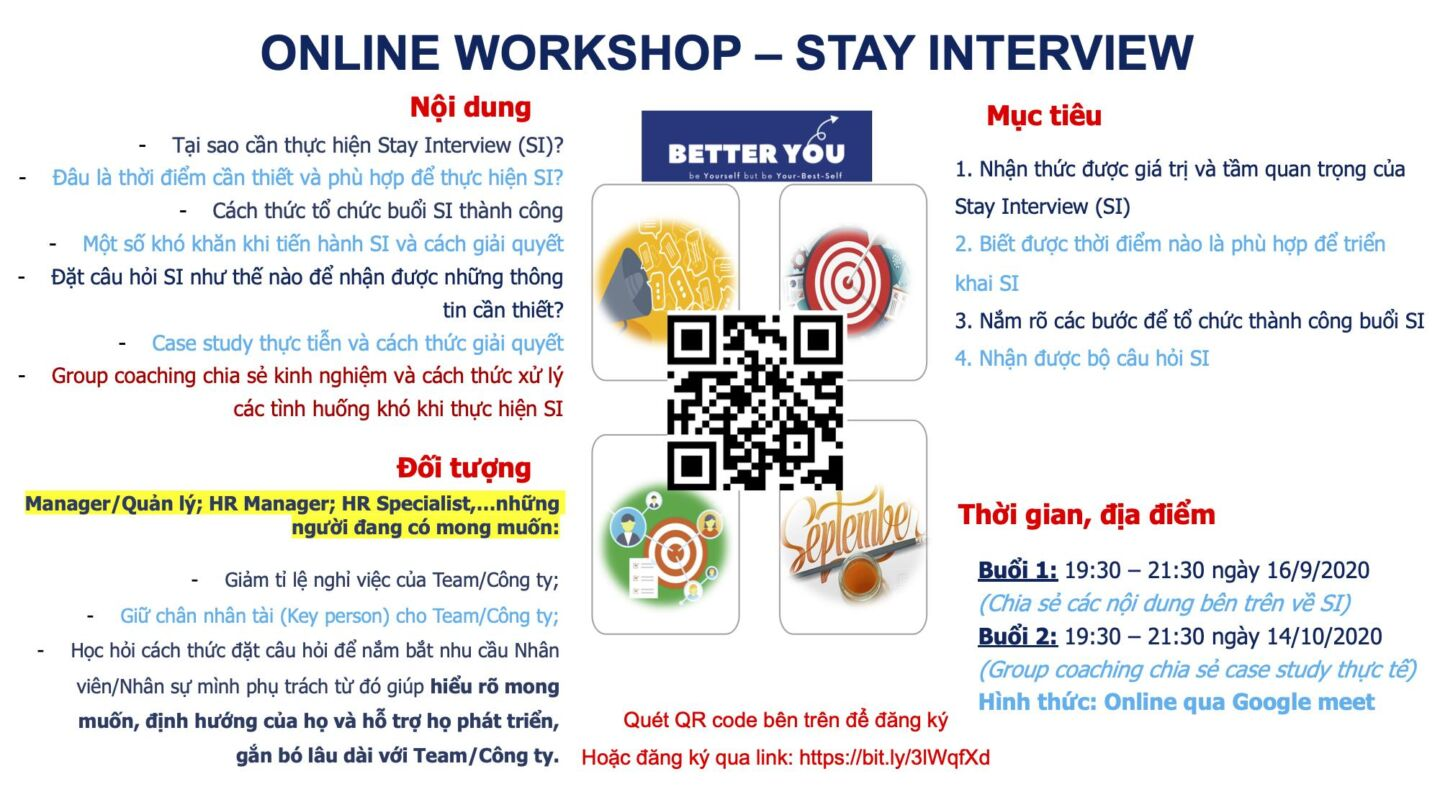 [Online] Workshop 03: STAY INTERVIEW – HOW TO MAKE IT VALUE? (16/9/2020 & 14/10/2020)