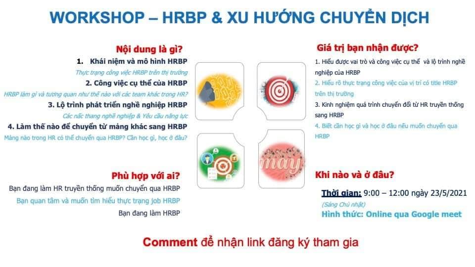 [Online] Workshop HRBP & XU HƯỚNG CHUYỂN DỊCH (16/05/2021 & 23/05/2021)